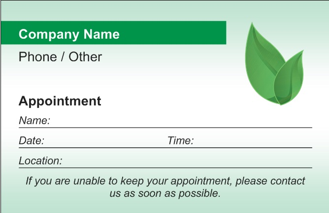 Custom Card Template » Appointment Card Template Word - Free Card